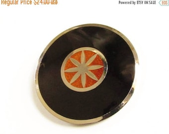 ON SALE Vintage Modernist Enameled Black Orange Brooch De Passille-Sylvestre Quebec 1970s