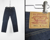 Vintage Levi's 501xx Jeans Unwashed Shrink to Fit 1980s Dark Denim Made in USA - 30 x 30