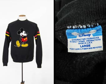 Vintage 80s Mickey Mouse Sweatshirt Raglan Black Disney Made in USA - Men's Large