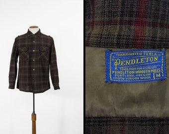 Vintage 50s Pendleton Board Shirt Brown Red Plaid Wool Loop Collar Flap Pockets - Medium