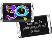 Set of 42 - Miniatures Candy Bar Labels - 30th, 40th, 50th, 60th, Any Age - Adult Milestone Birthday Favors