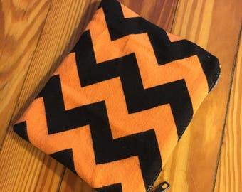 Orange And Black Flannel // Batik // Zipper Pouch