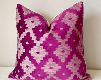 Magenta Purple Geometric Velvet Pillow, Tribal Velvet, Aztec Accent Throw Pillows