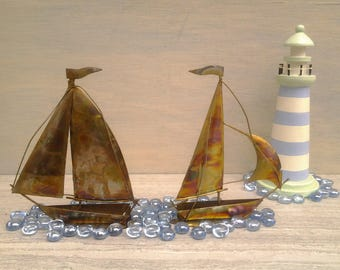 Vintage metal sailboats  - nautical decor - lakeside cabin - beach decor - metal art - beach house - copper boat - brass boat