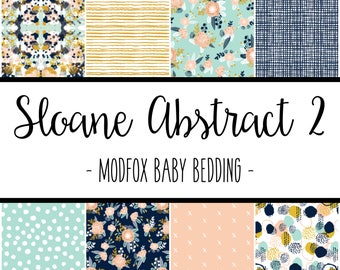 Sloane Abstract 2 Baby Bedding - Floral Baby Bedding - Floral Crib Sheet - Floral Baby Blanket - Floral Changing Pad - Floral Crib Bedding
