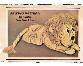 Instant Download PDF Full Size Printable Sewing Pattern to make a Leo the Lion Soft Fabric Toy Bean Bag Pillow Pal 20 inches Long