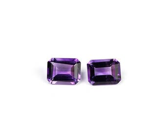 SUMMER SALE Amethyst Emerald Cut Matched Set 9 MM Purple Semi Precious Gemstone February Birthstone