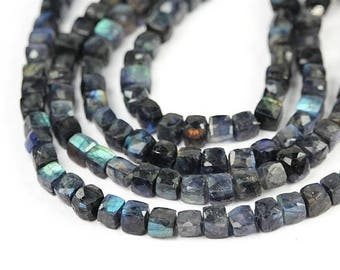 SUMMER SALE Labradorite Micro Faceted 3D Cube Beads 4 Green Blue Flash Grey Semi Precious Gemstones