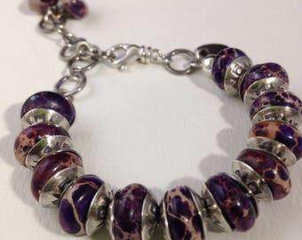 Handmade Jewelry, Purple Snake Jasper, Sterling Silver Handstamped Bead Caps, Beaded Bracelet, Southwestern Jewelry