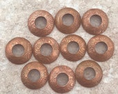 BHB Caps, Etched Copper Bead Caps, Circles Steampunk, 1 pair (2 caps), 13mm with 5mm hole