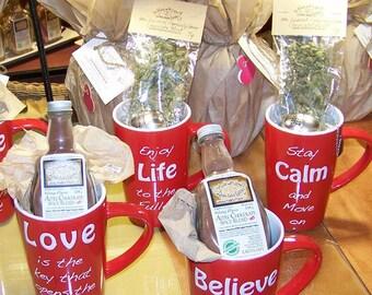 Blessings Mug Gift Sets - Organic Mint Tea in a Mug. Aztec Hot Chocolate Mix in a Mug. Coworker Gift Mug Gift Edible Gourmet Mug Gift Set