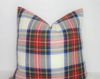 SPRING FORWARD SALE Holidays are Here! Plaid is In! Covington Plaid Pillow Cover 18x18 Red Green Cobalt White Pillow Cover