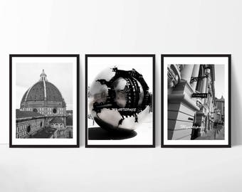 Set of 3 City Prints, Gallery wall Florence, Rome, Monaco Black white prints triptych, Buy 2 get one free, set of 3 modern black white art