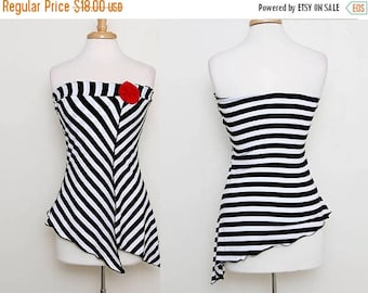 HUGE SALE Vintage 90s Black white Striped Tube Top