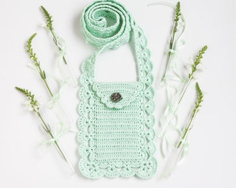 Crossbody phone purse Boho chic Cell phone pouch Smartphone bag Mobile cover  Case Crochet lace Gift for mom, grandma Summer Mint Off white