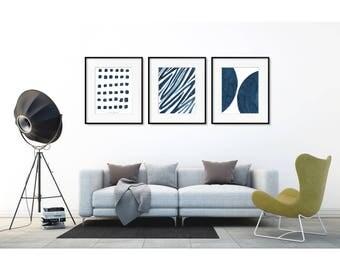 Set of 3 wall art. Minimalist Art Set. Abstract art prints. Set of 3 prints.  Blue art Print set. Minimalist Wall art. Painting set