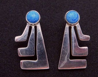 Vintage Taxco Mexican Sterling Silver Modernist Blue Stone Pierced Earrings 23007