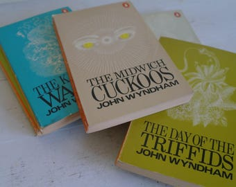 Vintage John Wyndham Book Block, Penguin Books, Circa 1970 x 5