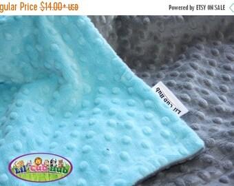 25% Off Minky Baby Blanket, Baby Blanket, Stroller Blanket - Turquoise Blue Dot/Grey Dot