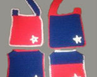 Patriotic Hand Made Red White and BlueBib. 0-3 months.
