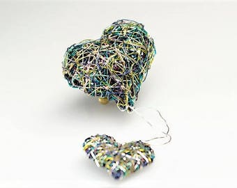 Art brooch, two heart brooch, blue green jewelry, wire sculpture art, valentines day, love gift for her, modern boho, Autumn, Christmas gift