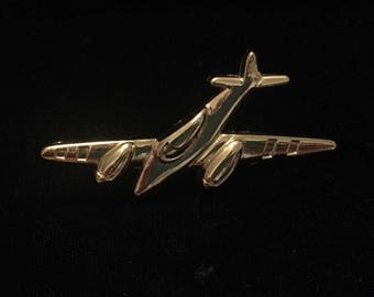 Fly Away With Me // Large Gold Airplane Brooch Pin