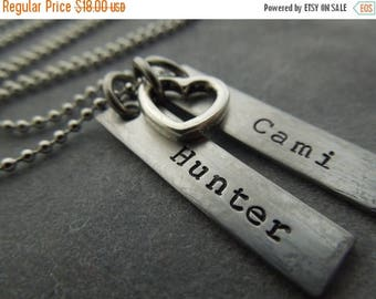 Holiday Sale personalized mothers necklace hand stamped stainless steel hammered and brushed with heart charm