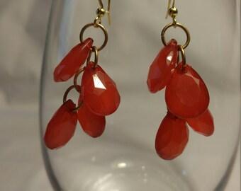 Earrings, Large Red Chunky Chandelier er Earrings, Red and Gold, Red Earrings, Chunky Earrings