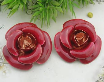2 pcs(38mm) Raw Brass Finding Resin Glossy, Rose,(1702)