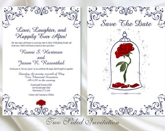 Enchanted Rose Beauty And The Beast Wedding Invitation | Wedding Invitation Printable | Calligraphy Wedding Invitation | Lovebirdslane