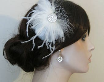 Bridal Hairpiece, Bridal Fascinator, Champagne Ivory Feather Fascinator, Head Piece, Wedding Hair Accessories, Wedding Hair Piece Rhinestone