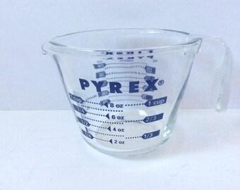 Vintage Pyrex Measuring Cups -  Blue Lettering - 1 Cup - Cottage Decor - Open Handle - Blue Kitchen - Farmhouse- Vintage Pyrex - Retro
