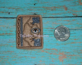 Magic Spell Book Feltie -Small light brown felt - Great for Hair Bows, Reels, Clips, Planners, Pins and Crafts - Halloween Seeing Eye
