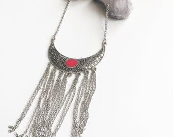 Boho tassel silver fringe statement necklace