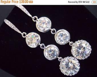 SALE Wedding Jewelry, Bridal Earrings, Clear Earrings, Glass, Cubic Zirconia, Silver, Bridesmaid Earrings, Bride Earrings, Bridesmaid Gifts
