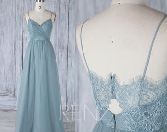 2017 Dusty Blue Tulle Bridesmaid Dress, Spaghetti Straps Wedding Dress, Lace Ruched Bodice Prom Dress, A line Maxi Dress Floor Length(HS509)