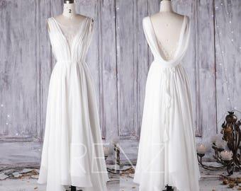 Off White Chiffon Long Bridesmaid Dress,Scoop Neck Lace Wedding Dress,Ruffle Long Evening Dress,Cowl Back Prom Dress Full Length(HW192)