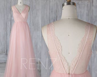 Bridesmaid Dress Blush Pink Tulle Wedding Dress,Lace V Neck Prom Dress,Illusion Back Maxi Dress,Ruched ALine Evening Gown Full Length(LS340)