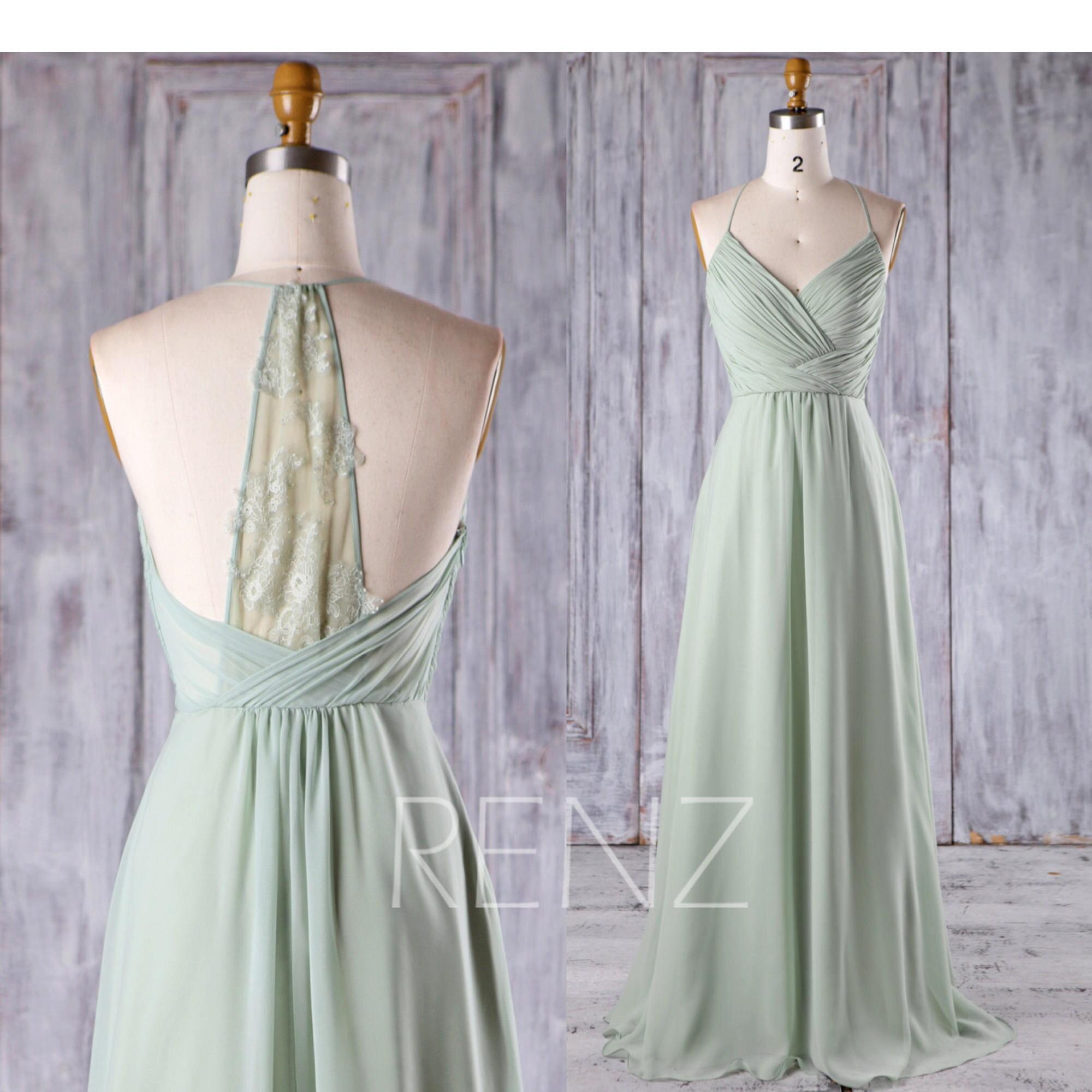 Bridesmaid dress dusty mint chiffon wedding dresshalter zoom ombrellifo Image collections