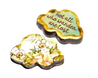 Ceramic Large Double Sided Cloud Quote Bead  Handmade Focal