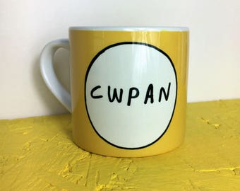 Kids Welsh Mug  - Cwpan Yfed Yellow Unisex Toddler Ceramic Cup 8oz