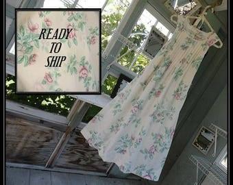 Free Shipping in US-XS-XXL- Priscilla Sleeveless Cotton Nightgown,  Handmade ,  Vintage Fabric, PinTucked, Waltz Length