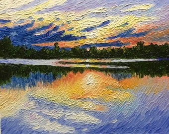 "Original Impressionist Impasto oil painting 11x14 ""Sunset Rifle River"""