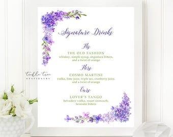 Printable Signature Drinks Sign - Purple Garden