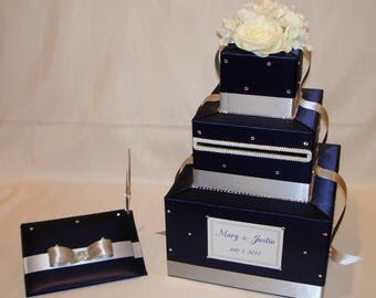 Navy Blue and Silver Wedding Card Box and matching Guest Book -White Silk Flowers -Rhinestone accents