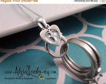 SUMMER SALE AloraLocks Expectant Mommy Baby Feet Wide Ring & Charm Holding Pendant