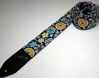 Handmade MOON FLOWER double padded flower guitar strap