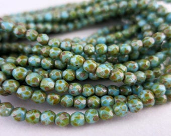 4mm Turquoise Picasso Glass Beads, Faceted Fire Polished  Czech Glass, Strand of 50