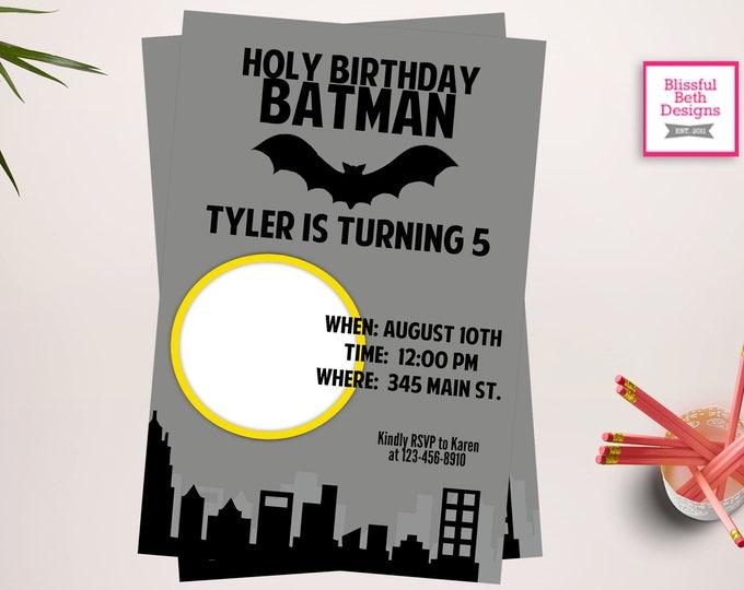 BATMAN BIRTHDAY INVITATION, Photo Invitation, Personalized Batman Invitation, Batman Birthday, Printable Batman, Batman, Photo Invite