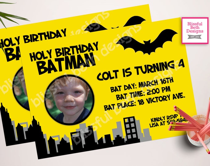 PERSONALIZED BATMAN INVITATION Personalized Batman Birthday Invitation, Printable Batman Invitation, Personalized Batman Photo Card